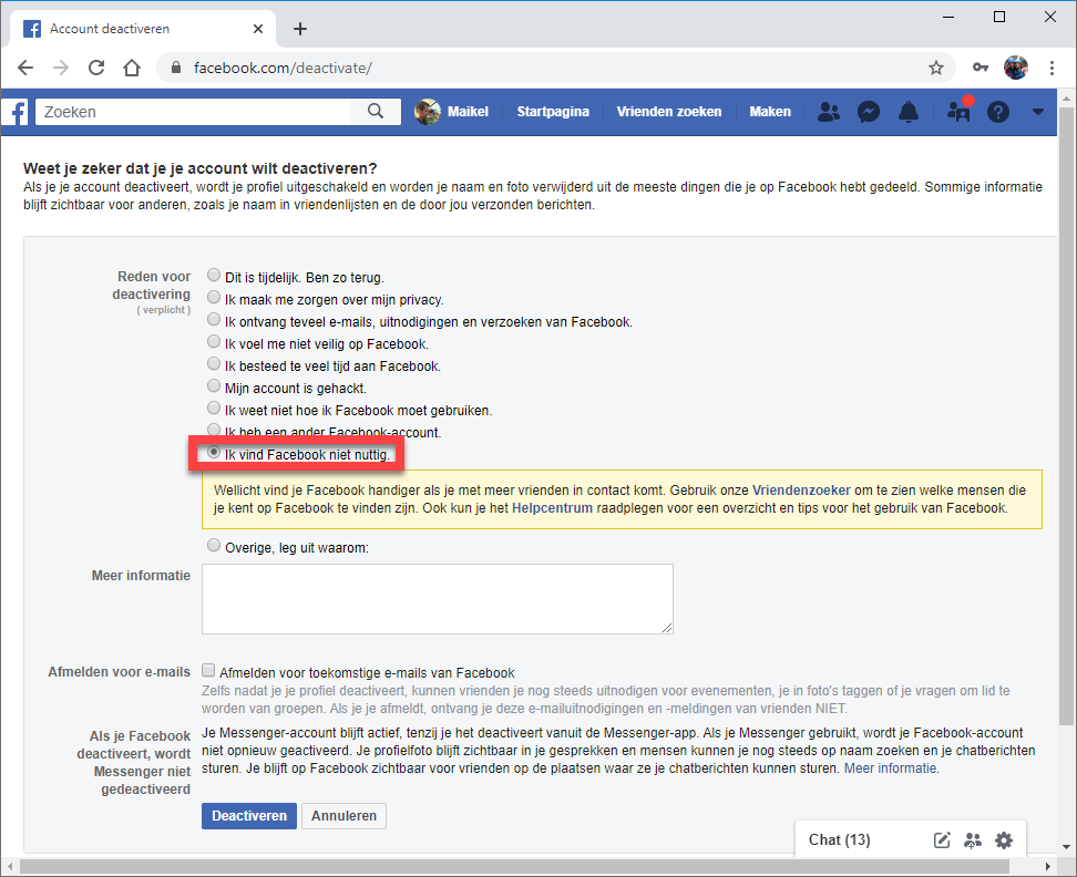Facebook-account deactiveren